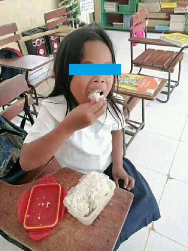 poor girl only eats rice