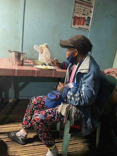 old woman walks 2 weeks