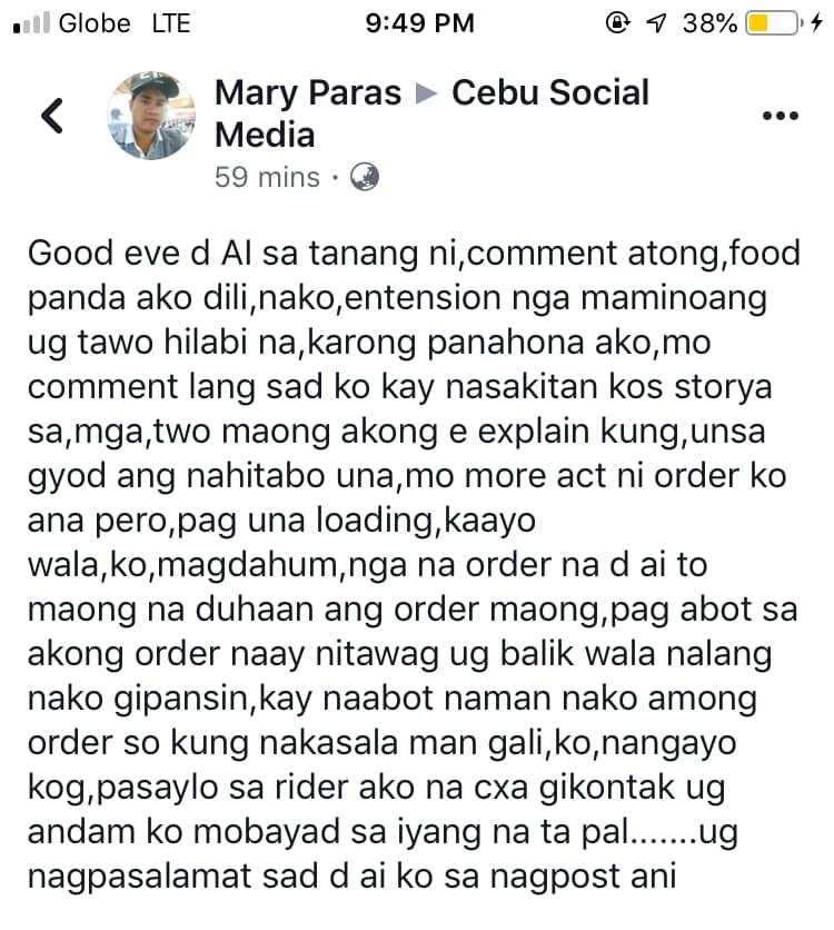 cancels FoodPanda order